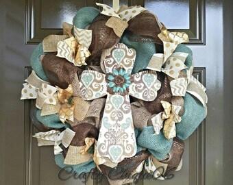 Cross Wreath; Easter Wreath; Year Round Wreath; Spring Summer Wreath