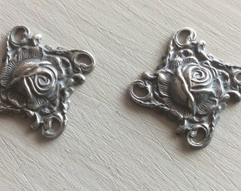 Sterling Silverized  brass Rose floral 4 loop connectors 4 pc