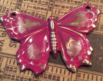 Fuschia patina antiqued brass  butterfly pendant 2 holes 2 pc