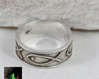 Sterling Silver - 7mm Ichthus Fish Band 4.9g - Ring (7.25)