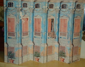 Vintage Tabletop 6 Panel Screen  Divider Limited Edition 10/300  Signed and Numbered Elegant Romantic Graphic
