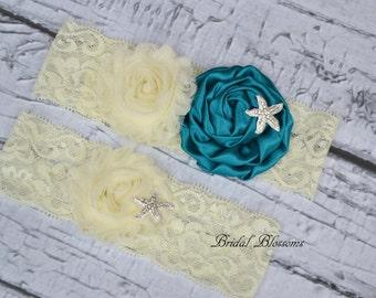 Starfish Ivory Teal Bridal Garter Set | Chiffon Satin Fabric Flower Stretch Lace Garters | Rhinestone Wedding Keepsake & Toss | Plus Size