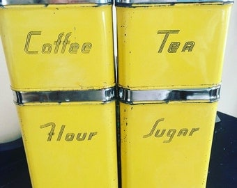 Retro yellow kitchen canisters