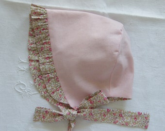 Bégin Hat reversible Sunbonnet LIBERTY of London or cotton blends to choose 3, 6, 12, 18 months 2/3 years