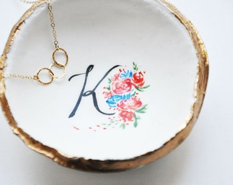 Floral Monogram Dish