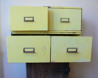 Steel File Cabinets, Matching Pair, Vintage 1950s Yellow Steel Side By Side Double Drawer File Cabinets, Industrial Furniture, Tables?