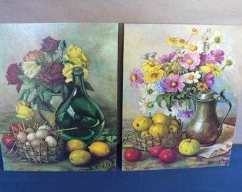 Henk Bos Vintage Lithograph Prints (2) Vintage 1960s,  Henk Bos Still Life Lithograph Prints D.A.C., N.Y. No. 316 & 338, Contemporary Dutch