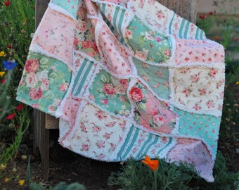 """Rag Quilt, Baby Girl, Made to Order ~, Baby Girl Quilt, Shabby Chic, 36"""" x 36"""" Quilt, Baby Shower Gift, Roses, Green, Peach, Floral Stripe"""