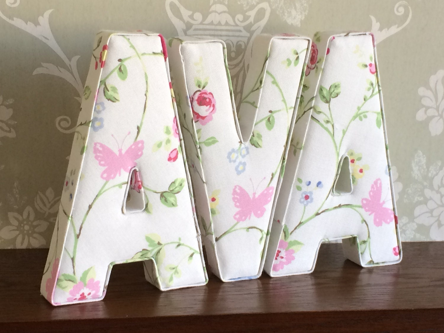 Decorative girls fabric letters free standing wall for Fabric covered letters for nursery