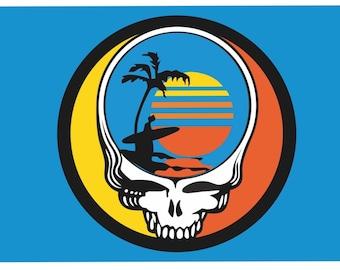 Grateful Dead Steal Your Face Endless Summer Flag (Teal / Blue background)