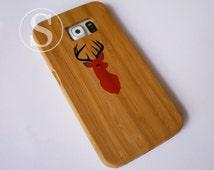 Wood phone case, Wood Samsung S7 case, Tardis galaxy S6 case, Wood galaxy S5 case, Wood galaxy S4 case, Deer Head Antler, SD-29