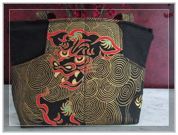 Over the shoulder pocketbook dragon Handbag-zippier bag with some bling handbag black with gold details and a vivid red lining fabric bag