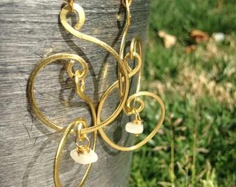 2 1/2 inch Moonstone Intention Design Brass Earrings w/14 k Gold Filled Earwires