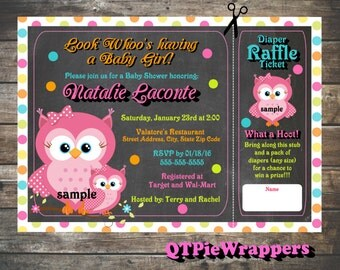 Printable Owl Baby Shower Invitations Personalized attached Raffle Ticket Party Favor Boy and Girl Designs in Pink Blue Orange Green Purple