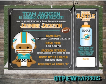 Printable Miami Dolphins Football Baby Shower Invitations Boy and Girl Cheerleader Personalized attached Raffle Ticket