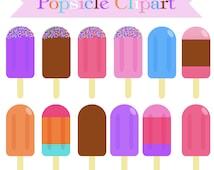 SALE! POPSICLE CLIPART - Cute Digital Clipart - Commercial Use - Popsicle Clip Art - Colorful Popsicles - Ice Cream Clip Art