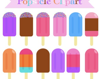 SALE! POPSICLE CLIPART - Cute Digital Clipart - Commercial Use - Popsicle Clip Art - Colorful Popsicles - Ice Cream Clip Art