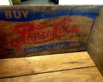 Vintage wooden PEPSI CRATE 1930'S industrial wedding collectible soda pop