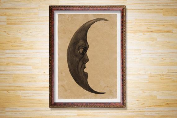 Vintage Decor Moon Poster Astronomy Print