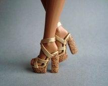 "Fashion Royalty 12"" shoes Cork high heels Gold"