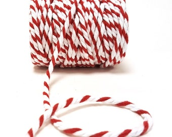 Red & White 5mm Chunky 100% Cotton Bakers Twine *Sold Per Metre*