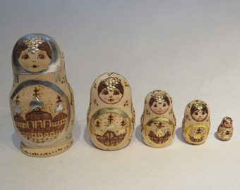 Set of 5 natural wood, fire burned Babushka nesting dolls - made in Russia