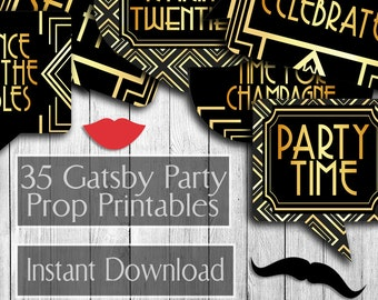 35 1920s Party Props, Gatsby Printable photobooth props, art deco 1920s, prohibition era props, gold download photo booth twenties 20s party