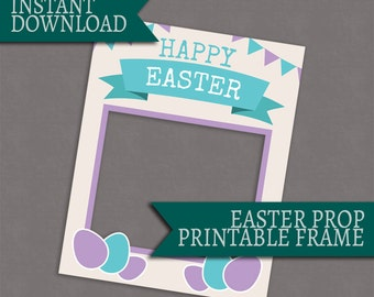 Easter photo booth frame, printable photobooth prop, Instant Download, giant diy easter photo frame party, easter party photos, printable