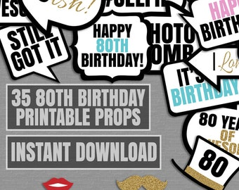 35 80th Birthday party printable props, photo booth props, eightieth party, black white, 80 photobooth props birthday party, 80 years, pdf