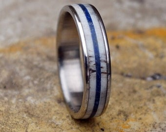 Stainless steel ring with deer antler and lapis lazuli inlay