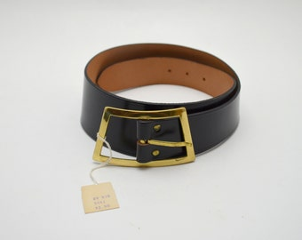 Vintage Black Leather Belt, New Old Stock, Schaffer, Topgrain Cowhide, Size 28, circa 1950s-1960s