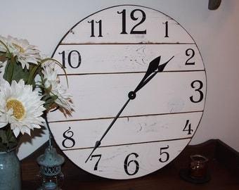 28 Inch Wooden Wall Clock, Rustic Wall Clock, Large Wall Clock, Farmhouse Clock, Distressed Clock, Wooden Clock, Oversized Clock