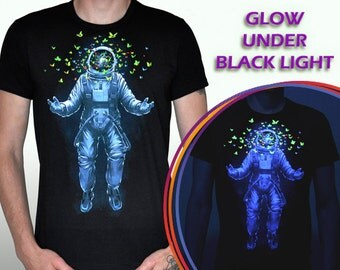 Space imagination - t-shirt, UV active fluorescent psy trance Space stars universe geometric Abstraction dimension butterfly fantazy goa lsd