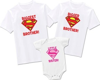 Biggest Brother, Bigger Brother and Little Sister Superman, Includes Three Items - Bodysuit or T-Shirt