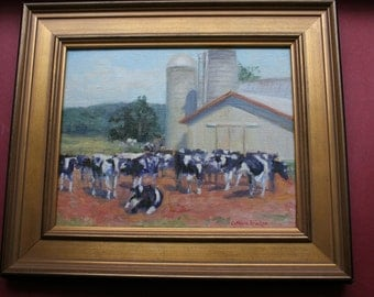 Vermont Dairy Farm, Oil Painting, Cows, Barn