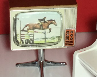 Retro Vintage Dollhouse TV and Chair
