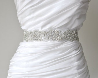 Wedding Sash Belt, Bridal Sash Belt - Crystal Sash Belt Pearl Sash Belt