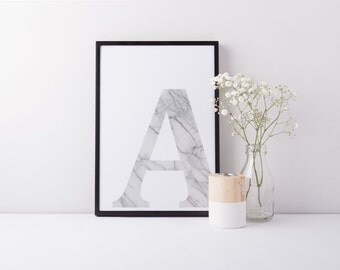 A3 Marble Letter Print