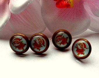 Earring Stud cabochon thick Santa Claus