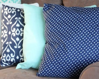 Handmade Navy Blue Arrow Pillow