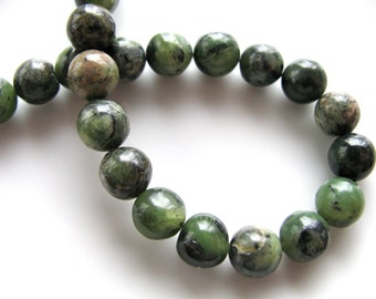 Jade beads, 23 beads, 8mm, shades of green and black - 298