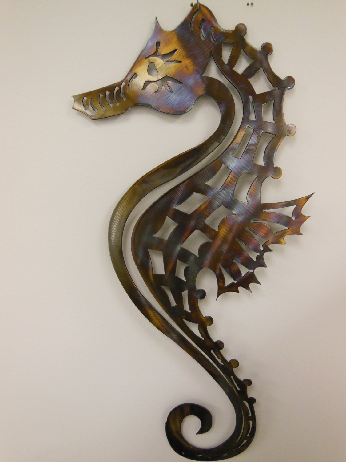 Metal Sculptures And Art Wall Decor: Seahorse Metal Art Wall Sculpture In Aluminum Or Stainless
