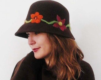 Women brown hat, with felt flowers.