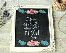 Wedding decorations rustic, Rustic wedding chalkboard print, Wedding reception decor, Bible verse, I have found the one whom my soul loves.