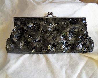 Black Beaded Lancome Clutch Lancome Evening bag