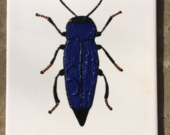 Ceramic Tile Painting, Original, black and blue bug beetle creepie crawley insect plaque