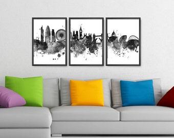 London Skyline Set of 3 Prints Black and White, London Print, London Watercolor, London Cityscape, Print England Print (A0419)