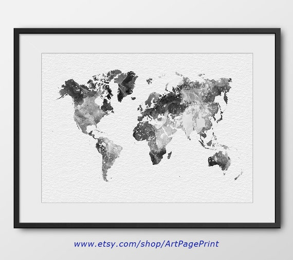 World map watercolor black and white print no2 map poster te gusta este artculo gumiabroncs Gallery