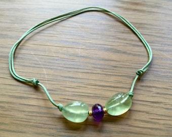 Prehenite Crystal necklace wit18kt gold