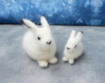 Mommy & Baby Needle Felt Arctic Hares - Waldorf inspired